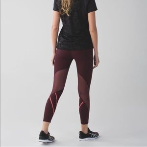 Lululemon All Meshed Up 7/8 Tight - Maroon 8